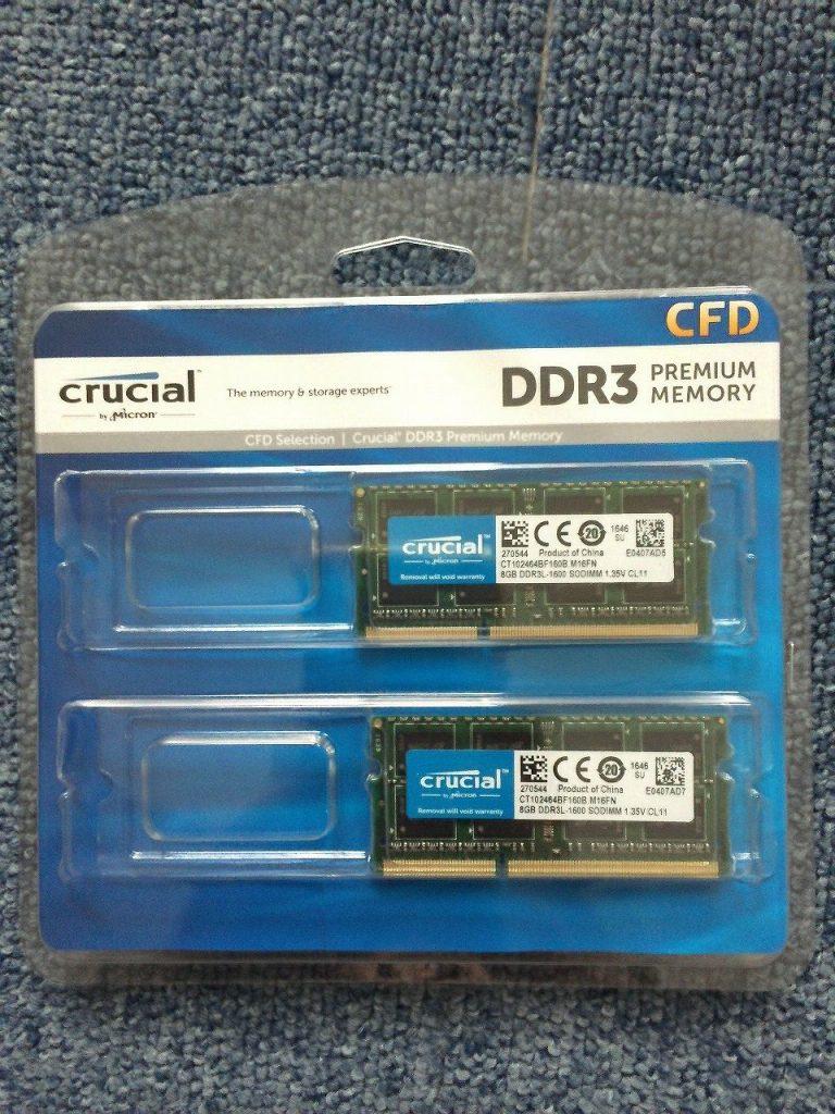 X220中古のメモリをCrucialのW3N1600CM-8Gで16GBレビュー感想
